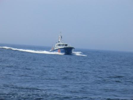 """das uns folgende Patrouillienboot der """"Polish Border Guard""""..."""